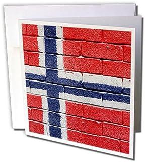 Carsten Reisinger Illustrations - 挪威国旗画在挪威的砖墙上 - 贺卡 Set of 6 Greeting Cards