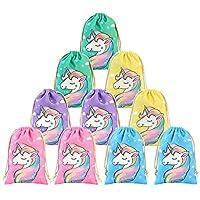 QtGirl 独角兽派对礼品袋,Goodie Bags 抽绳零食袋,适合女孩、男孩和儿童生日派对礼物 10 件 均码 Mix 5 Color