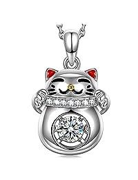 """跳舞 Heart """" 幸运猫 """" ♥ 情人节礼品 ♥ 925标准纯银红色珐琅4A 锆石吊坠项链精致首饰她的  红色/银色"""