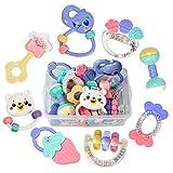 TUMAMA 婴儿摇铃牙胶玩具,婴儿摇铃摇铃套装,带储物盒,不含BPA,玩具适用于0,3,6,9,12个月大和新生婴儿