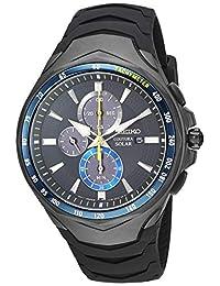 Seiko ' COUTURA' 石英不锈钢和硅胶正装手表,颜色:黑色(型号:SSC697)