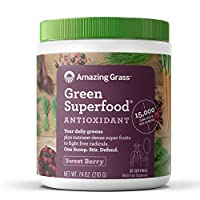 Amazing Grass Green Superfood Antioxidant Organic Powder with Wheat Grass, Elderberry, and Greens, Flavor: Sweet Berry, 30 Servings