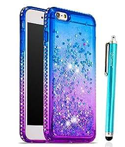 iPhone 6 iPhone 6S 手机壳,Cattech 闪光液体浮动闪耀柔韧 TPU 闪亮钻石纤薄透明柔软 TPU 保护套适用于苹果 iPhone 6/6S 4.7 英寸 + 触控笔Cattech liquid glitter case 2.Blue/Purple