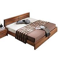 致林 北欧风格大床北美黑胡桃木色双人床 现代简约床 1.5米床 150*200cm床(亚马逊自营商品, 由供应商配送)