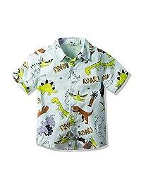 男宝宝休闲卡通印花 T 恤系扣修身上衣短袖夏威夷衬衫