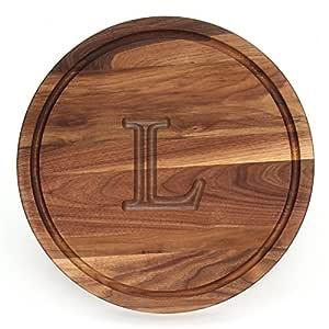 "CHUBBCO W110-L Thick Round Cutting Board, 16-Inch by 1-Inch, Monogrammed""L"", Walnut"