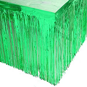 Blukey 73.66 x 274.32 cm 金属箔流苏桌裙 横幅 镶嵌 适合各种场合的桌布 绿色 29x108-Inch Foil Fringe Table Skirt