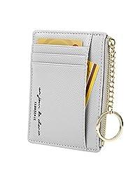 女式 8 张卡片纤薄极简卡包拉链零钱变化前口袋钱包