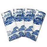 蓝色意大利 45 x 45 厘米棉餐巾,4 件套,蓝色/白色