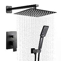 ROVATE 黑色淋浴系统壁挂式黄铜浴室雨水混合器淋浴组合套装,10 英寸雨淋淋浴头和 3 档手持淋浴器,淋浴水龙头套装(含灌入阀体和装饰)