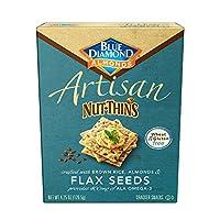Blue Diamond Almond Artisan Nut Thins Cracker Crisps, Flax Seeds, 4.25 Ounce (Pack of 12)