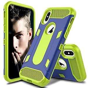 AMENQ iPhone 8 手机壳,【减震】混合三层重型防撞保护硬壳保护套适用于 Apple iPhone 8 5.8'' 2017AMENQ-IPX-LM Yellow Lemon/Blue