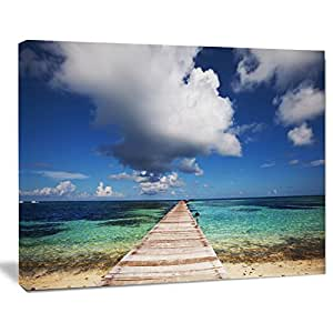 Design Art Long Pier into Serene 马尔代夫海洋大海桥帆布艺术印刷品,50.80x30.48cm