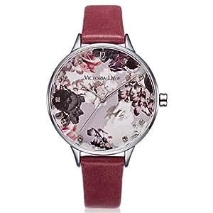 VICTORIA HYDE 女式石英手表花卉 FACE 真皮表带黑色适用于女式防水