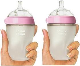 Comotomo可么多么 奶瓶 粉色8 Ounces (250ml) 两只装 (美国品牌)[跨境自营]包税【跨境自营】