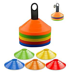 Xubox 圆盘圆锥,50 个灵活多色圆锥,塑料载体让您随处携带 - 特别适合敏性训练、足球、橄榄球、棒球、滑冰和任何标记球游戏