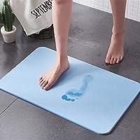 【神奇脚垫】天然硅藻土浴室吸水地垫脚垫 吸水速干浴室淋浴防滑地垫硅藻泥脚垫大号 (蓝色)