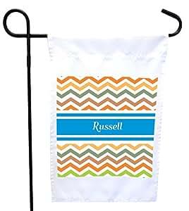 "Rikki Knight""Russell 蓝色锯齿形姓名房子或花园旗帜,27.94 x 27.94 cm 图像,30.48 x 45.72 cm"