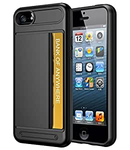 iPhone 5/5s/se 钱包手机壳,VAKO iPhone 5/5s/se 带卡夹的手机壳,抗冲击钱包手机壳带信用卡夹 黑色