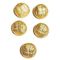 哑光金色纽扣套装篮状编织 2.54cm 和 1.59cm 适用于连衣裙、外套、西装 5pc-1-3/16 (30mm)Gold Buttons Basket Weave 897