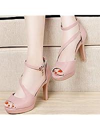 古奇天伦 鱼嘴鞋 女士凉鞋 防水台 一字扣细跟高跟鞋