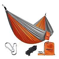 Wolfyok 便携式野营单双吊床轻质便携尼龙吊床带带降落伞尼龙绳和纯色登山扣,适用于背包、露营、旅行、海滩、庭院