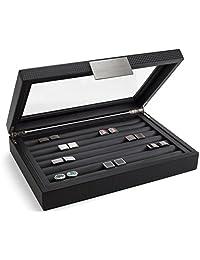 Glenor Co 男式袖扣盒 - 可装 70 个袖扣 - 豪华展示珠宝盒 - 碳纤维设计 - 金属扣架,大号玻璃上衣 - 黑色