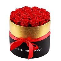 红玫瑰花 Box: D 9.05 x H 9.65 inches, Roses: D 1.8-2 inches 红色