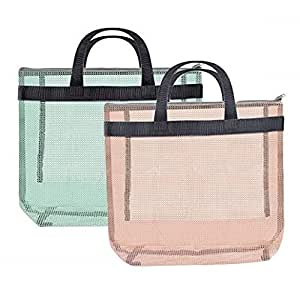 Hoocozi 2 件装游泳池网眼沙滩手提袋,淋浴盒带短手柄(*,橙色) *和橙色 KItchen-0822B