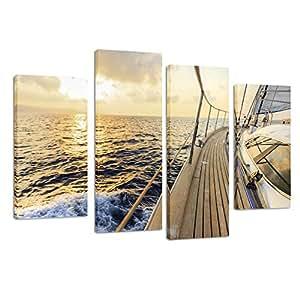Kreative Arts 帆布印刷墙壁艺术绘画 家庭装饰帆船 4 件面板画 现代艺术微喷拉伸和框架艺术品 海滨图片帆布画 适合客厅装饰 Sail Boat 2 12''x24''x2pcs+12''x32''x2pcs 7732