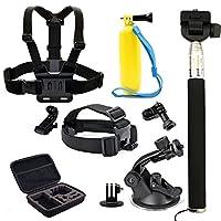 Legazone® 用于 Gopro Legazone 运动摄像机的 6 合 1 组合配件套件 - 头带胸带手柄单脚架折叠支架和自动吸盘