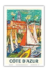 """太平洋岛屿艺术 科特迪瓦阿兹尔 - 法国门顿 - 罗杰·马塞·利马斯创办的复古世界旅游海报,1965 年 - 艺术大师印刷 12"""" x 18"""" PRTB4764"""
