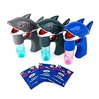 Boley Shark 泡泡枪 - 3 件装发光泡枪 适合儿童和幼儿 - Sharks 泡泡枪 玩具枪 男孩和女孩