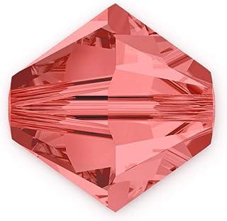 50 件正品 4 毫米施华洛世奇水晶 5328 Xillion 双锥体水晶珠 用于珠宝制作(帕达帕拉德夏) SWA-b430