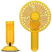 MOMAX 摩米士 手持便携USB可充电风扇 三档风速 小型迷你电风扇 2500mAh应急移动电源 小巧方便创意 真空可拆卸吸盘底座 风扇头可180°上下旋转 动力时尚 学生电风扇 户外旅行风扇 静音省电 可持续送风5小时 黄色