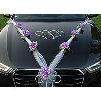 ORGANZA M + HERZEN Auto-Schmuck 新婚夫妇玫瑰装饰 汽车装饰 婚车 婚车装饰 轿车藤条花环 Lila / Weiß / Weiß