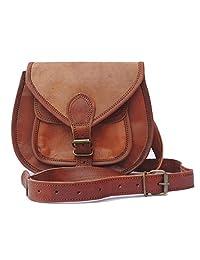 女士皮革钱包 22.86 cm 斜挎单肩单肩单肩包复古风格钱包女士挎包,棕色