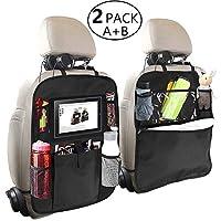 OYRGCIK 儿童后座收纳袋,2 种类型 (A+B) 踢垫后座汽车保护膜带多袋储物袋夹适用于 iPad 平板电脑瓶纸巾盒玩具车辆旅行,黑色 2 件装