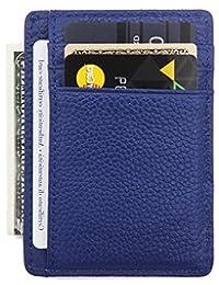 DEEZOMO RFID 屏蔽真皮信用卡包前口袋钱包,带身份证卡窗口