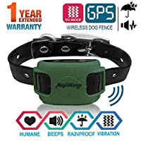 AngelaKerry 无线狗围栏系统,带GPS,无电击,户外宠物封闭系统可充电防水震动项圈850YD遥控器,适用于15磅-120磅(橄榄绿)