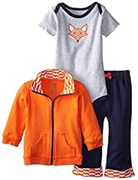 Yoga Sprout Baby-Boys 3 Piece Dog Track Jacket Bodysuit Pant Set Orange Fox Tracksuit Set 18-24 个月