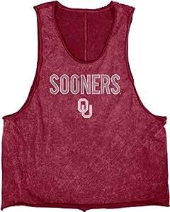 蓝色 84 NCAA 奥克拉荷马大学校队成人女式矿物洗涤肌肉 T 恤,L 码,深红色
