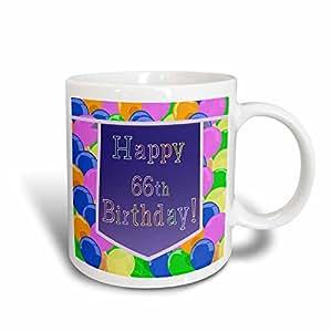 3dRose Beverly Turner 生日设计 - 气球紫色横幅 Happy 66 岁生日 - 马克杯 黑色/白色 11 oz mug_174790_3