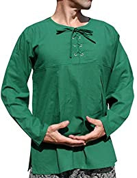 Raan Pah Muang 棉质开领复兴衬衫长袖加大码