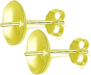 低*性抗变色金耳环柱带耳钉*背扣离合器适用于耳钉首饰工艺制作配件用品 8mm (0.31 Inch) cup