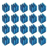 20 件步进电机散热器,带导电粘合剂 3D 打印机芯片冷却散热器,适用于 TMC2130 TMC2100 A4988 DRV8825 TMC2208(蓝色 9 x 9 x 12 毫米)