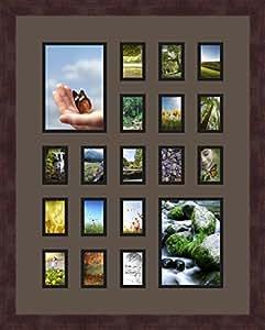 Art to Frames 双倍多衬垫-397-119/89-FRBW26061 拼贴框架照片垫双衬垫带 2-5x7 和 17-2x3 开口和Espresso 框架