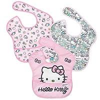 Bumkins Hello Kitty *围嘴,婴儿围嘴,防水,可水洗,防污防臭,6-24 个月,3 件装