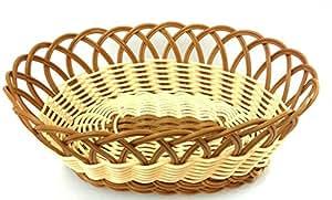 "Natuer 和棕色涤纶编织面包篮 Nature Oval 10.75""x7.5""x4""H unknown"