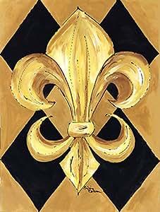 Black and Gold Fleur de lis New Orleans Flag 多色 大
